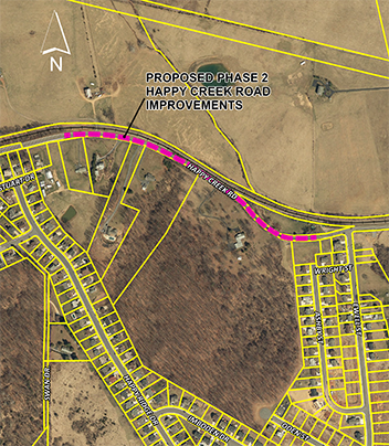 Map of Happy Creek Road - Phase II